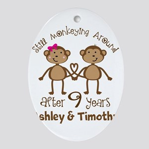 Funny 9th Anniversary Personalized Oval Ornament