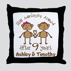 Funny 9th Anniversary Personalized Throw Pillow