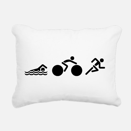 Triathlon Icons Rectangular Canvas Pillow