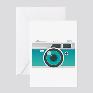 Vintage Turqoise Camera Greeting Cards