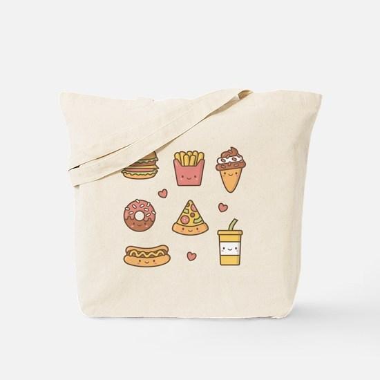 Cute Happy Junk Food Doodles Tote Bag