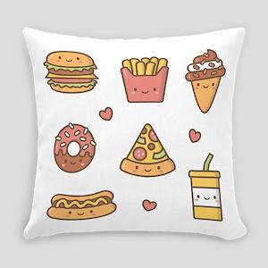 Cute Happy Junk Food Doodles Everyday Pillow