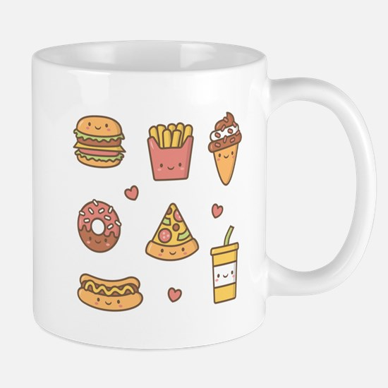 Cute Happy Junk Food Doodles Mugs