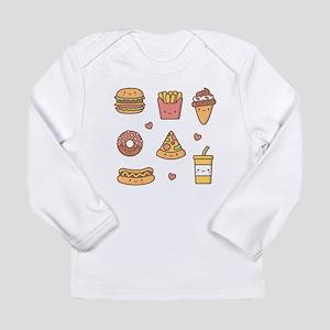 Cute Happy Junk Food Doodles Long Sleeve T-Shirt
