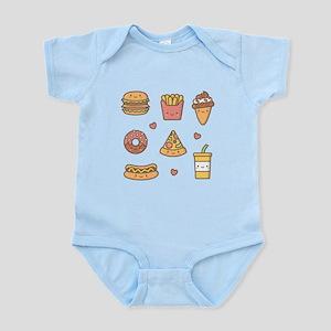 Cute Happy Junk Food Doodles Body Suit