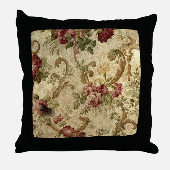 Old Fashioned Flower Design Throw Pillow