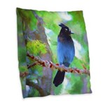 Steller's Jay Burlap Throw Pillow