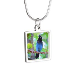 Steller's Jay Silver Square Necklace