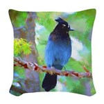 Steller's Jay Woven Throw Pillow