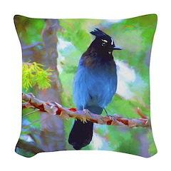 Steller's Jay Woven Throw Pillow