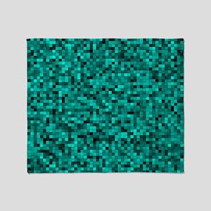Blue, Teal: Digital Pixel Pattern Throw Blanket