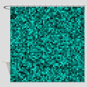 Blue, Teal: Digital Pixel Pattern Shower Curtain
