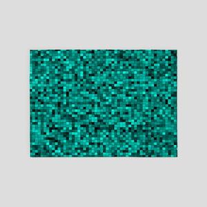 Blue, Teal: Digital Pixel Pattern 5'x7'Area Rug