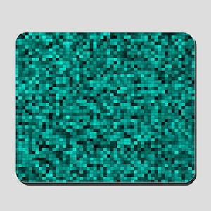 Blue, Teal: Digital Pixel Pattern Mousepad