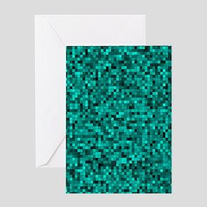 Blue, Teal: Digital Pixel Pattern Greeting Card