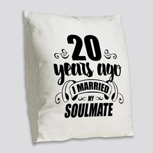 20th Anniversary Burlap Throw Pillow