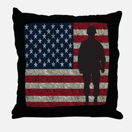 USFlag Soldier Throw Pillow