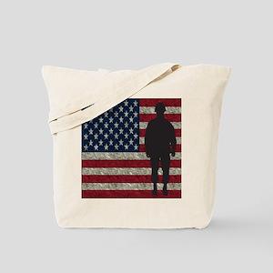 Usflag Soldier Tote Bag