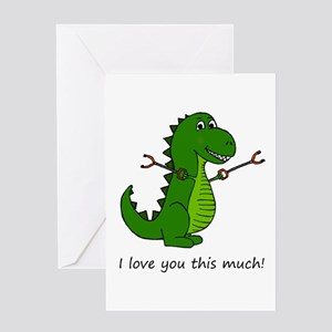 I love you this much! T-Rex Dinosau Greeting Cards