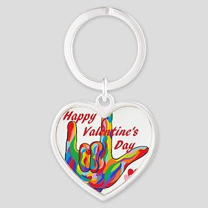 ASL Happy Valentine's Day I Love You Keychains