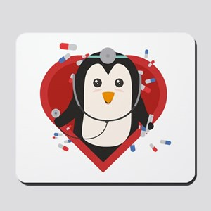 Penguin doctor with heart Mousepad