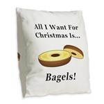 Christmas Bagels Burlap Throw Pillow