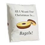 Christmas Bagels Burlap Throw Pillow