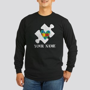 Autism Puzzle Heart Personalized Long Sleeve T-Shi