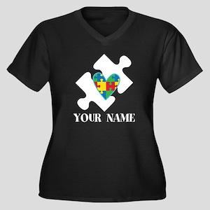 Autism Puzzle Heart Personalized Plus Size T-Shirt