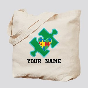 Autism Puzzle Piece Heart Personalized Tote Bag