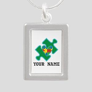 Autism Puzzle Piece Heart Personalized Necklaces