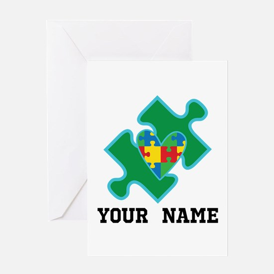 Autism Puzzle Piece Heart Personalized Greeting Ca