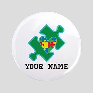 Autism Puzzle Piece Heart Personalized Button