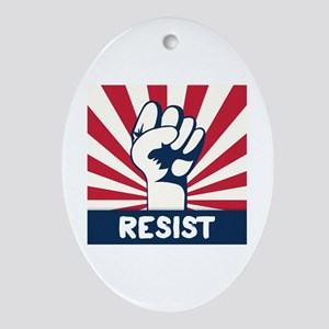 RESIST Fist Oval Ornament