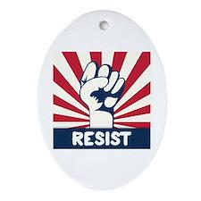 RESIST Fist Oval Ornament