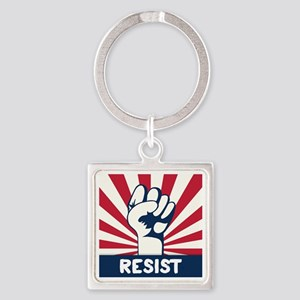 RESIST Fist Square Keychain