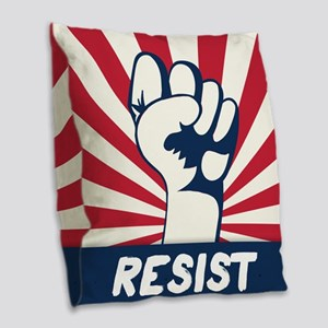 RESIST Fist Burlap Throw Pillow