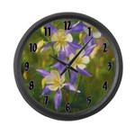 Colorado Blue Columbine Large Wall Clock