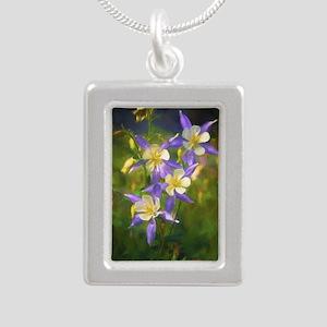Colorado Blue Columbine Silver Portrait Necklace