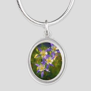 Colorado Blue Columbine Silver Oval Necklace