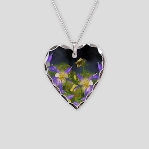 Colorado Blue Columbine Necklace Heart Charm