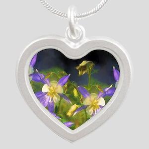Colorado Blue Columbine Silver Heart Necklace