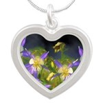 Colorado Blue Columbine Silver Heart Necklace