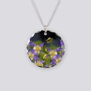Colorado Blue Columbine Necklace Circle Charm
