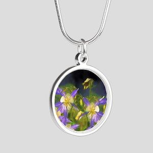 Colorado Blue Columbine Silver Round Necklace