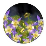 Colorado Blue Columbine Round Car Magnet