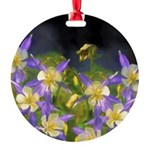 Colorado Blue Columbine Round Ornament