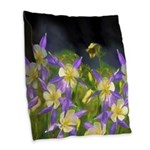 Colorado Blue Columbine Burlap Throw Pillow