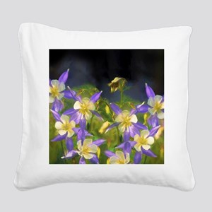 Colorado Blue Columbine Square Canvas Pillow
