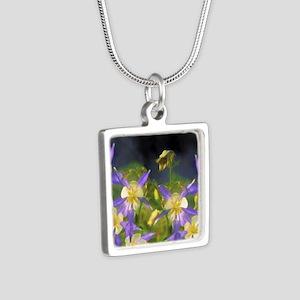 Colorado Blue Columbine Silver Square Necklace